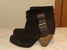 FLY LONDON ROSA DESIGNER BROWN SUEDE PULL ON ANKLE BOOTS UK 7 EUR 40 RRP £120
