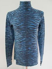 NWT Auth Kenzo H&M Blue Zebra Print Wool Turtleneck Sweater Top Sz 10 SOLD OUT