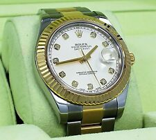 Rolex Datejust II 116333 Two Tone 18K Yellow Gold & SS Ivory Diamond Dial *MINT*