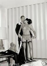 1960s Large Breasted in Black Stockings With male mannequin  8 x 10 Photograph