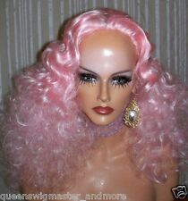 Drag Queen Wig Frizzy Shoulder Length Pink Finger Waves