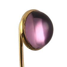Antique 14K Yellow Gold Mounted Polished Amethyst Cabochon Lapel Stick Pin