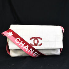 Authentic CHANEL CC Logos Chocolate Bar Shoulder Bag Leather Canvas White 66F147