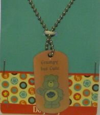 "Care Bears GRUMPY Bear 28"" DOG Tag Necklace ""Grumpy But Cute"""