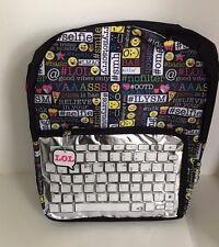 Emoji backpack Emojination Black 16 Inch Book Bag