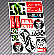 SET 16 Vinyl Stickers Car Motorsport Bike Auto Skate DC Shoes Obey Misfits GoPro