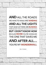 Oasis - Wonderwall - Song Lyric Art Poster - A4 Size