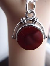 FAB VICTORIAN 1886 SILVER 2 SIDED SPINNER SPINNING BLOODSTONE CARNELIAN FOB SEAL