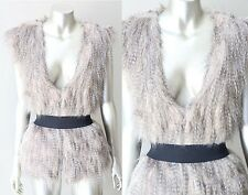 Fur Vest Faux Long Hair Lynx Plunging V Boho Hippie Jacket Coat Sz M + L