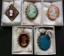Lot of 5 Great Quality Vintage Cameo Brooch Pendant Necklace Lady head NOS