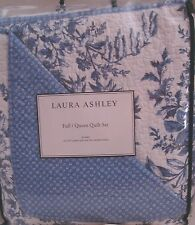 LAURA ASHLEY 3p Set Full Queen BEDFORD Quilt Shams Blue White Floral Porcelain
