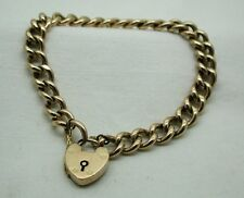 Victorian 9ct Rose Gold Curb Link Bracelet With Heart Padlock