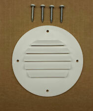 RV/Camper/Trailer - Round Battery Box Vent, WHITE, 4 White Head Screws Included