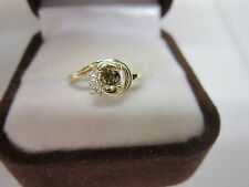 BEAUTIFUL ESTATE 14 KT GOLD  FANCY CHAMPAGNE BROWN DIAMOND RING !!!!!!!!!