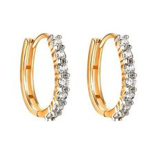 14k Gold Tone Hoop Earrings Solitaire Simulated Diamond Huggies 20mm Prong Women