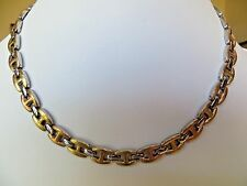 Women's Brushed & Shinny  Stainless Steel 3 Tone Necklace Rose & Gold Tone 18 ""