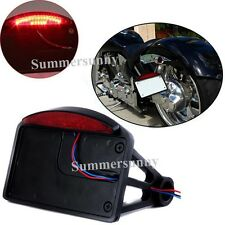 Motorcycle Side Mounted License Plate Assembly Bright Led Tail Brake Light Black