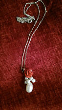 Rose and Pearl Pendant Necklace with Chain.