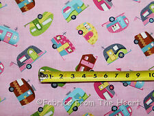 Travel Vintage TearDrop Campers Trailers on Pink BY YARDS TT Cotton Fabric
