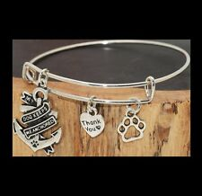 MY DOG KEEPS ME ANCHORED PAW PRINT HEART CHARMS EXPANDABLE WIRE BANGLE BRACELET