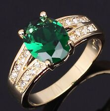 Fashion Size 8  Emerald Cut Emerald 18K Gold Filled Engagement Rings For Lady