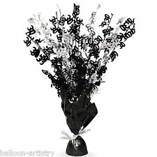 "16"" Happy 30th Birthday BLACK Glitz Foil Balloon Weight Table Centrepiece"