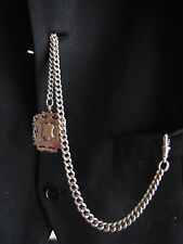 ANTIQUE 1888 HEAVY SILVER ALBERT POCKET WATCH CHAIN SILVER DOUBLE SIDED FOB 58g