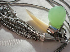 "Signed Accessorize green aventurine ? MOP silvertone tassel 18 gram 32"" necklace"