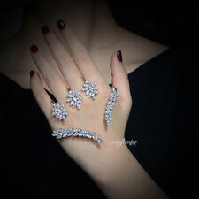 Fashion Cubic zirconia cluster palm cuff hand bracelet bangle Wedding Jewelry