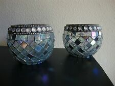"""2 ROUND GLASS MIRROR CANDLE HOLDER STAND 3.5"""" TALL 4"""" DIAMETER TABLE CENTERPIECE"""