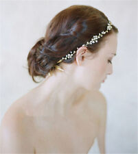 Wedding Bridal Crystal Rhinestone Headband Ribbon Band Hair Accessories Tiara A*