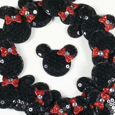 ON SALE 10 Black Padded Sequin Minnie Mouse Applique Embellishment Trim Sewing