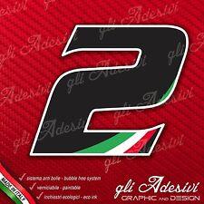 Adesivo Stickers NUMERO 2 moto auto cross gara Nero & Tricolore 15 cm