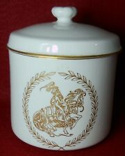 """SPODE china """"LADY GODIVA"""" Nude Woman Riding on Horse Covered Jar & Lid"""