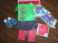 AMERICAN GIRL MYAG SKATEBOARD OUTFIT + CHARM NEW IN BOX RETIRED
