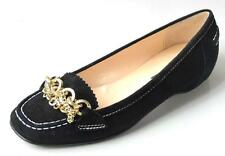 new CLAUDIA CIUTI black suede CHAIN flats shoes Italy 5.5 - really cute