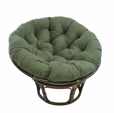 Rattan Papasan Chair with Hunter Green Micro Suede 100% Polyester Cushion