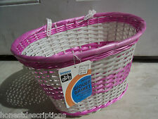 NEW NOS Vintage Bicycle Front Rack Pink Deluxe Woven Basket Fast Free Ship US 48