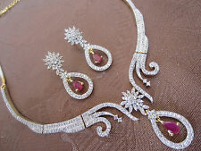 22ct GOLD PLATED INDIAN/ENGLISH AMERICAN DIAMOND & RUBY NECKLACE/EARRINGS SET,BN