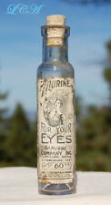 Antique MURINE EYE REMEDY vial EMBOSSED w/ LABEL early HAND BLOWN bottle