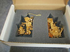 The Danbury Mint 1998 Gold Plated Ornament TOY FIRE ENGINE & JACK FROST