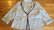 NWT Womens ELLEN TRACY Grey Button Roll Sleeve Blazer Jacket Size 2XL XXL