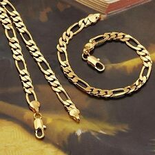men's jewelry 18k yellow gold filled solid necklace+bracelet sets figaro chain