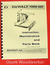 DEWALT Power Shop 1200 & 1400 Radial Arm Saw Instructions & Parts Manual 0262