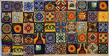 50 Mexican Talavera TILES 2x2 Clay Handmade Folk Art Mosaic Handpainted