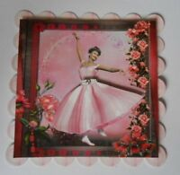 PACK 2 PINK 1950'S BALLERINA TOPPERS EMBELLISHMENTS FOR CARDS & CRAFTS