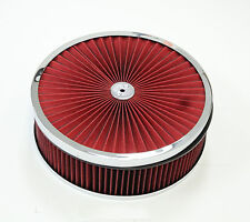 """14""""x 4'' Chrome Breather Washable Air Filter Cleaner Reusable Oiled Ford Chevy"""