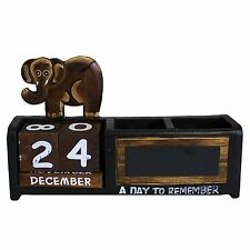 Shabby Chic Brown Elephant Wooden Calendar Pen Pot Pen Holder Desk Tidy