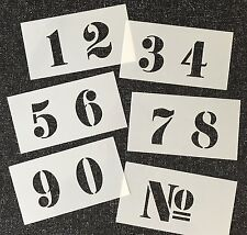 NUMBERS STENCIL 40mm high FRENCH STYLE on Six Tough 120 X 65mm Plastic Sheets