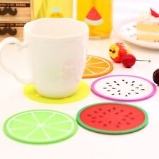 6 pcs Fruit Coaster Colorful Silicone Cup Drinks Holder Mat Tableware Placemat